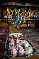 Relics, deities and other items of worship inside the monasteries close to Boudhanath Stupa in Kathmandu, Nepal.
