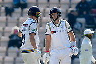 Gary Ballance of Yorkshire talking to Joe Root of Yorkshire during the Specsavers County Champ Div 1 match between Hampshire County Cricket Club and Yorkshire County Cricket Club at the Ageas Bowl, Southampton, United Kingdom on 11 April 2019.