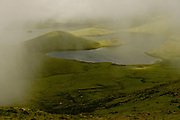 A view of the ancient crater of Corvo island, in the Azores archipelago.