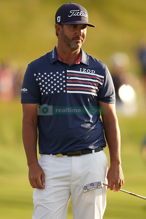 June 16, 2018 - Southampton, NY, USA - Scott Piercy reacts to a missed putt on the 18th green during the third round of the 2018 U.S. Open at Shinnecock Hills Country Club in Southampton, N.Y., on Saturday, June 16, 2018. (Credit Image: © Brian Ciancio/TNS via ZUMA Wire)