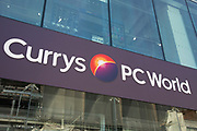 Sign for the electronics and home appliance brand Currys PC World in Birmingham, United Kingdom.