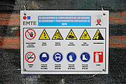 Hazardous Material warning sign. Photographed in Barcelona, Spain