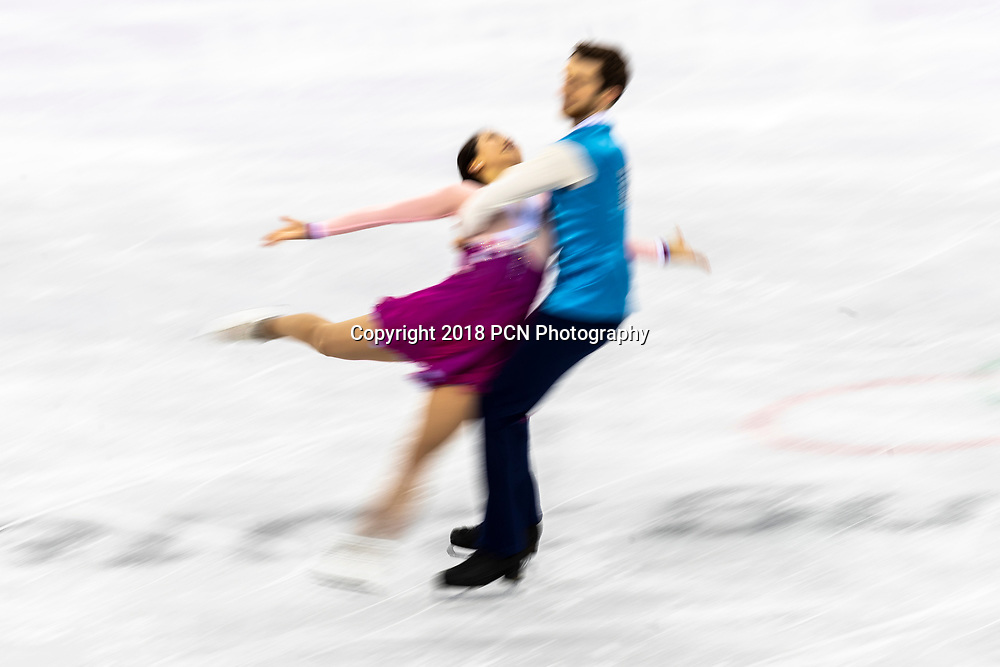 Motion blur action of Yura Min/Alexander Gamelin (KOR) in the Figure Skating - Ice Dance Free at the Olympic Winter Games PyeongChang 2018