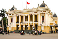 The Hanoi Opera House was built by the French colonial government during the early years of the 20th century.  Construction began in 1901 and  was completed in 1911.  The Hanoi Opera House is considered to be typical French colonial architecture in Vietnam.  It is a small-scale replica of the Palais Garnier, the older of the two opera houses in Paris.