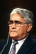 Nicaraguan contra leader Eden Pastora testifies in Congress November 26, 1996 in Washington, DC.