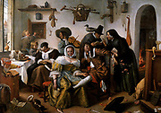 The World Upside Down, Jan Steen (1663)  Jan Havickszoon Steen (c. 1626 – buried February 3, 1679) was a Dutch genre painter of the 17th century (also known as the Dutch Golden Age). Psychological insight, sense of humour and abundance of colour are marks of his trade.