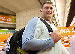 Miro Vodovnik of Slovenia in mix zone after competing in the Mens Shot Put Qualifying during day four of the 20th European Athletics Championships at the Olympic Stadium on July 30, 2010 in Barcelona, Spain. (Photo by Vid Ponikvar / Sportida)