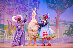 Mother Goose <br /> at the Hackney Empire, London, Great Britain <br /> press photocall<br /> 20th November 2014 <br /> <br /> <br /> <br /> Sharon D Clarke as Charity <br /> <br /> Alix Ross as Priscilla (the Goose) <br /> Clive Rowe as Mother Goose<br /> <br /> Photograph by Elliott Franks <br /> Image licensed to Elliott Franks Photography Services