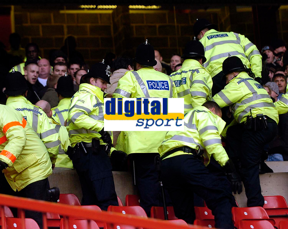 Photo: Jed Wee.<br />Nottingham Forest v Chesterfield. Coca Cola League 1.<br />31/12/2005.<br />Police had to rush into action midway through the second half following a disturbance caused by Chesterfield fans.