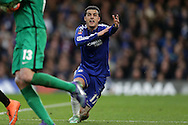 Pedro of Chelsea screams at the linesmen to appeal for a suspected hand ball by Aleksandar Kolarov of Manchester City. The Emirates FA Cup, 5th round match, Chelsea v Manchester city at Stamford Bridge in London on Sunday 21st Feb 2016.<br /> pic by John Patrick Fletcher, Andrew Orchard sports photography.