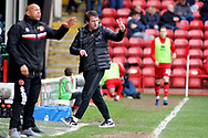 Barnsley manager Daniel Stendel giving orders during the EFL Sky Bet League 1 match between Walsall and Barnsley at the Banks's Stadium, Walsall, England on 23 March 2019.