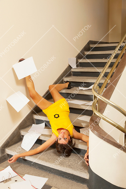 woman portrait, staircase accident