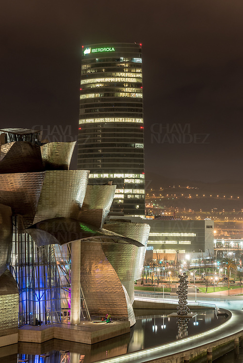Bilbao City by Night, Biscay, Basque Country, Spain
