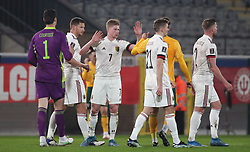 LEUVEN, BELGIUM - Wednesday, March 24, 2021: Belgium's Kevin De Bruyne celebrates with team-mates after a 3-1 victory during the FIFA World Cup Qatar 2022 European Qualifying Group E game between Belgium and Wales at the King Power Den dreef Stadium. Belgium won 3-1. (Pic by Vincent Van Doornick/Isosport/Propaganda)