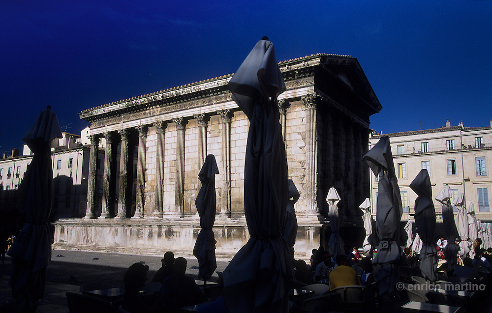 Nimes. The Maison Carrée (Square House), a small Roman temple dedicated to sons of Agrippa. Built c. 19 BC. is one of the best-preserved Roman temples anywhere.