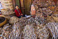 Woman selling dried fish at the market in Aung Bann, Shan State, Myanmar (Burma)