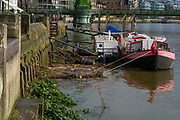 Hammersmith, Greater London, UK., 8th March 2020, Drift Rubbish, collects round the moorings, River Thames, [Mandatory Credit: Peter SPURRIER/Intersport Images], <br /> OUWBC on Surrey Station,