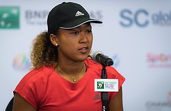 October 24, 2018 - Kallang, SINGAPORE - Naomi Osaka of Japan talks to the media after losing her second match at the 2018 WTA Finals tennis tournament (Credit Image: © AFP7 via ZUMA Wire)
