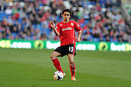 Fabio da Silva of Cardiff city in action. Barclays Premier league, Cardiff city v Fulham at the Cardiff city Stadium in Cardiff , South Wales on Sat 8th March 2014. pic by Andrew Orchard, Andrew Orchard sports photography<br /> contact and payments to Andrew Orchard, 2 Old Vicarage close,