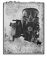 Solaroid - Metal Morphosing - Carburettor 5 - This is a solarised polaroid photo art print by Paul Williams who invented the technique and is the only photographer to have used it. The process is sadly no longer possible. Circa 1989,