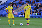 AFC Wimbledon midfielder Jake Reeves (8) and AFC Wimbledon midfielder Dean Parrett (18) during the EFL Cup match between Peterborough United and AFC Wimbledon at ABAX Stadium, Peterborough, England on 9 August 2016. Photo by Stuart Butcher.