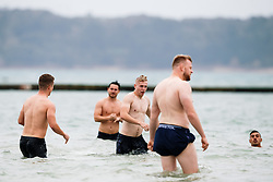 Mat Protheroe looks on as Bristol Rugby take part in a morning after game recovery session in the sea - Rogan/JMP - 29/10/2017 - RUGBY UNION - Jersey Marine Lake - St Helier, Jersey - Jersey Reds v Bristol Rugby - Greene King IPA Championship.