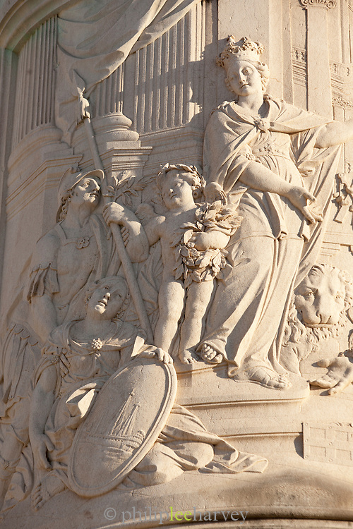 A detail on the statue of King Jose I, at the Praca do Comercio, Commercial Square, in Lisbon, Portugal