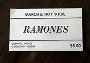 Neil Hubbard has this $5 ticket from the 1977 Ramones concert he and Robert Bennett booked into the Georgian room at the Olympic Hotel. (Alan Berner/The Seattle Times)