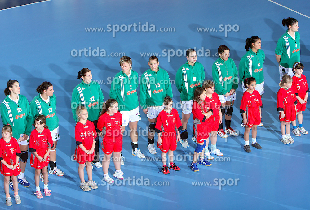 Team of Gyori before EHF Champions league handball match in Group II between RK Krim Mercator and Gyori Audi Eto KC, on February 7, 2009, in Kodeljevo, Ljubljana, Slovenia. Gyori won 35:31. (Photo by Vid Ponikvar / Sportida)