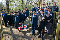 Lt Col Andres Nazario Commander and members of the 451st Intelligence Squadron based at RAF Menwith Hill join Sheffield locals and members of the RAF and Royal Air Force Association to lay wreathes on the anniversary of the Crash of Mi Amigo, a USAAF flying fortress which crashed in Endcliff Park park on the 22 February 1944 killing all 10 Crewmen onboard<br /> www.pauldaviddrabble.co.uk<br /> 19th February 2012 -  <br /> Image © Paul David Drabble