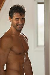 muscular man at home