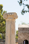 Detail of an anciet coloumn in Paphos Archaeological Park, Paphos, Cyprus.