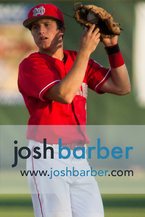 Mater Dei's Bryan Call (2) catching during a Trinity League game at Mater Dei High School on Friday, May 1, 2015 in Santa Ana, Calif. (Photo/Josh Barber)