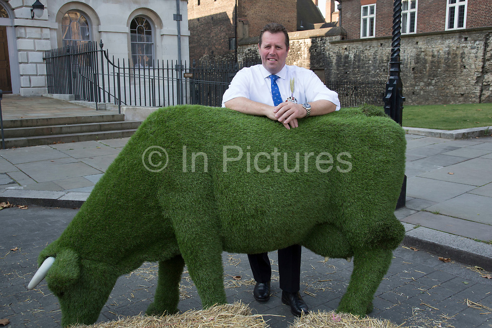 Farmer at the National Farmers Union NFU took machinery, produce, farmers and staff to Westminster to encourage Members of Parliament to back British farming, post Brexit on 14th September 2016 in London, United Kingdom. MPs were encouraged to sign the NFU's pledge and wear a British wheat and wool pin badge to show their support.