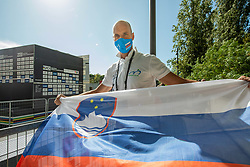 Tomaz Grm, president of Slovenian Cycling Federation during Men Time Trial at UCI Road World Championship 2020, on September 24, 2020 in Imola, Italy. Photo by Vid Ponikvar / Sportida
