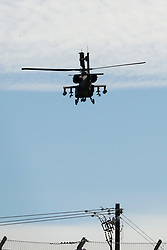 October 21, 2018 - Austin, TX, U.S. - AUSTIN, TX - OCTOBER 21: Military helicopter flies away from COTA track prior to the F1 United States Grand Prix on October 21, 2018, at Circuit of the Americas in Austin, TX. (Photo by John Crouch/Icon Sportswire) (Credit Image: © John Crouch/Icon SMI via ZUMA Press)