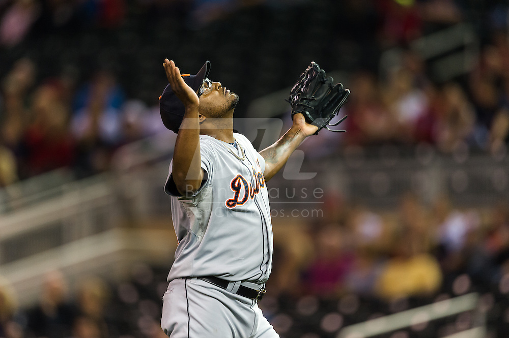 Jose Valverde (46) of the Detroit Tigers at the end of a game against the Minnesota Twins on August 14, 2012 at Target Field in Minneapolis, Minnesota.  The Tigers defeated the Twins 8 to 4.  Photo: Ben Krause