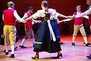 """Young Czech members of the folklore dance group """"Hřebečský taneční soubor"""" (in Czech) from the city of Moravska Trebova are rehearsing for their eveing performance at the 71st Sudeten German meeting in Munich."""