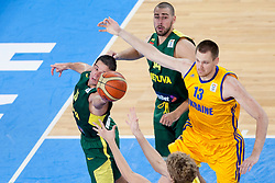 Mantas Kalnietis #5 of Lithuania during basketball match between National teams of Ukraina and Lithuania in 2nd Round at Day 12 of Eurobasket 2013 on September 14, 2013 in SRC Stozice, Ljubljana, Slovenia. (Photo By Urban Urbanc / Sportida)