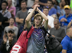 September 6, 2017 - Flushing Meadows, New York, U.S - Andrey Rublev salutes the fans after losing his match on Day Ten of the 2017 US Open against Rafael Nadal at the USTA Billie Jean King National Tennis Center on Wednesday September 5, 2017 in the Flushing neighborhood of the Queens borough of New York City. 6-1, 6-2, 6-2. JAVIER ROJAS/P (Credit Image: © Prensa Internacional via ZUMA Wire)