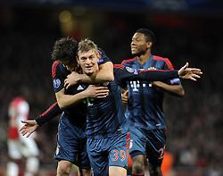 Bayern Munich's Toni Kroos celebrates his goal with team mates - Photo mandatory by-line: Joe Meredith/JMP - Tel: Mobile: 07966 386802 19/02/2014 - SPORT - FOOTBALL - London - Emirates Stadium - Arsenal v Bayern Munich - Champions League - Last 16 - First Leg