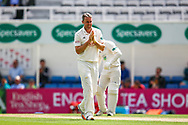 Rikki Clarke of Surrey reacts to Ben Foakes of Surrey just failng to make a catch on the boundary during the Specsavers County Champ Div 1 match between Surrey County Cricket Club and Hampshire County Cricket Club at the Kia Oval, Kennington, United Kingdom on 18 August 2019.