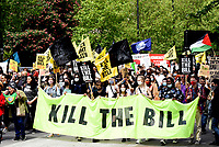 Kill The Bill protest march to westminster sq ,Hundreds of protesters demonstrating against the controversial policing bill that  will prevent people's right to protest.Photo by Krisztian  Elek