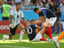 KAZAN, June 30, 2018  Kylian Mbappe (C) of France celebrates with teammate Olivier Giroud (R) after being awarded a penalty kick after a foul by Marcos Rojo of Argentina during the 2018 FIFA World Cup round of 16 match between France and Argentina in Kazan, Russia, on June 30, 2018. (Credit Image: © Lu Jinbo/Xinhua via ZUMA Wire)