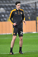 portrait of Hull City defender Jacob Greaves (24) warms up before the EFL Sky Bet League 1 match between Hull City and Rochdale at the KCOM Stadium, Kingston upon Hull, England on 2 March 2021.