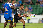 Ben Volavola of the BNZ Crusaders passes wide during the Canterbury Crusaders v the Western Force Super Rugby Match. Nib Stadium, Perth, Western Australia, 8th April 2016. Copyright Image: Daniel Carson / www.photosport.nz