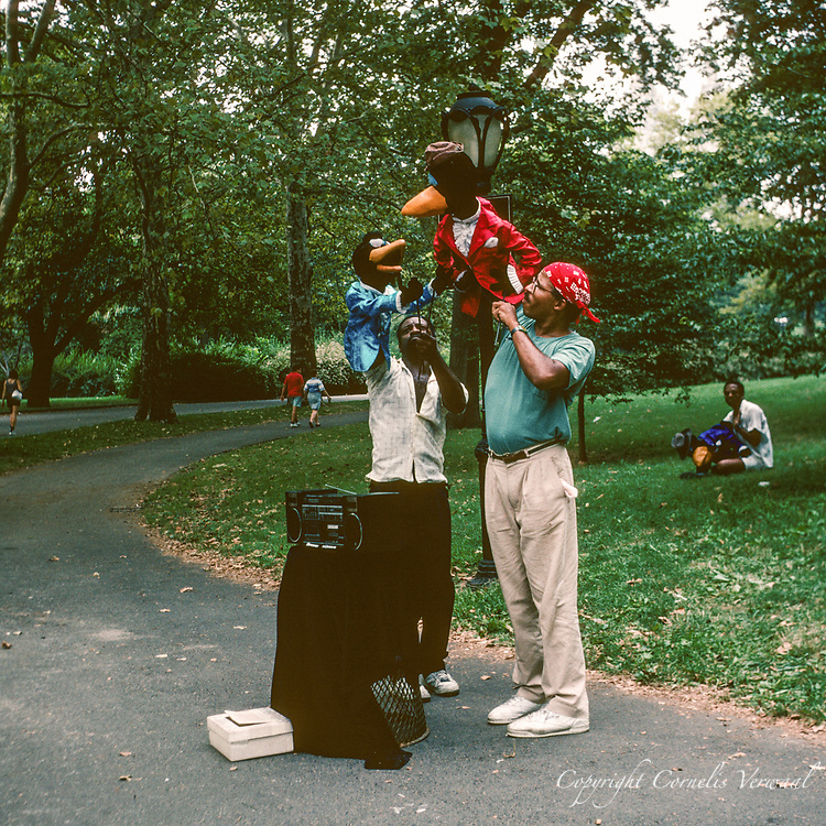 Crowtations puppeteers performing in Central Park, New York City, 1991