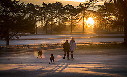 © Licensed to London News Pictures. 18/01/2017. Walton on the Hill, UK. Dog walkers brave the cold as the sun rises on a frosty Walton Heath south of London. Britain is continuing to experience a cold spell. Photo credit: Peter Macdiarmid/LNP