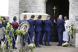 April 24, 2018 - Heist-Op-Den-Berg, FRANCE - Verandas Willems - Crelan riders carry the coffin into the church, at the start of the funeral ceremony for cyclist Michael Goolaerts, Tuesday 24 April 2018 in Hallaar, Heist-Op-Den-Berg. Michael Goolaerts died after a crash in the Paris-Roubaix race on Sunday 8 April 2018, he was 23 years old. BELGA PHOTO DIRK WAEM (Credit Image: © Dirk Waem/Belga via ZUMA Press)