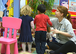 © Licensed to London News Pictures. 13/11/2012. London, UK PARENTAL PERMISSION GRANTED FOR USE. Nursery aged Children play in'Third Door' Nursery, in Putney today, 13 November 2012. Nick Clegg Deputy prime Minister has announced new flexible parental leave for parents, mothers and fathers can now share the maternity leave allowance.. Photo credit : Stephen Simpson/LNP
